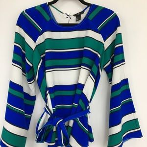 Multi-coloured striped bell sleeve blouse